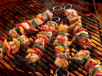Skewers on a hot grill