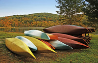 Colored canoes lying near a lake
