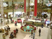 Inside view of a large shopping mall