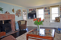 Cozy living room with wood stove