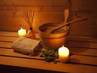 Relaxing Finnish sauna room