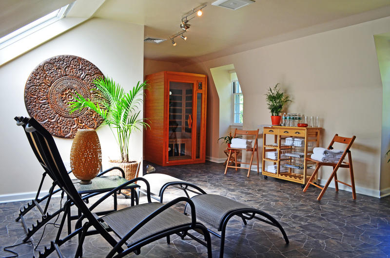 Spa with saunas relaxing chairs