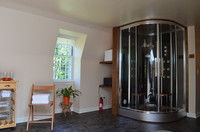 wellness area with steam shower cabin